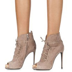 Shoespie Chic Solid Color Lace Up Peep Toe Fashion Stiletto Booties