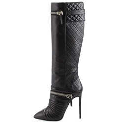 Shoespie Stylish Black Zipper Winkle Knee High Stiletto Boots