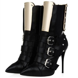Shoespie Gorgeous Gothic Black Metal Patchwork Buckle Gladiator Sandals