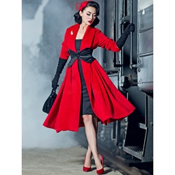 Regular Bowknot A Line Winter Women's Overcoat
