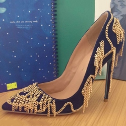 Shoespie Stylish Chain Embellished Stiletto Heels