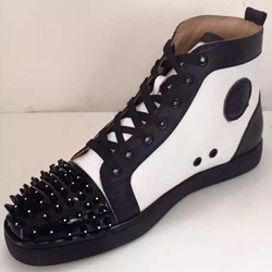 Shoespie Black and White Spikes Fashion Sneakers