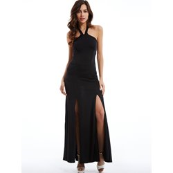 Plain Cold Shoulder Halter Maxi Dress