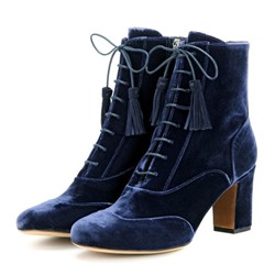 Shoespie Velvet Royal Blue Chunky Heel Fashion Booties