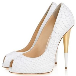 Shoespie Chic White Embossed Leather Peep Toe Stiletto Heels