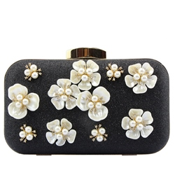 Shoespie Elegant Floral Appliqued Banquet Clutch Bag