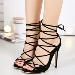 Shoespie New Black Lace Up Sandals