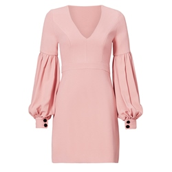 Shoespie Plain V-Neck Lantern Sleeves Bodycon Dress