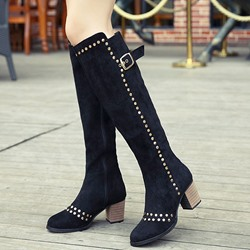 Shoespie Trendy Black Nubuck Rivets Block Heel Knee High Boots