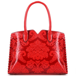 Shoespie Elegant Patent Leather Print Handbag