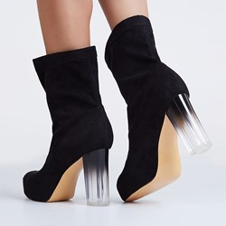 Shoespie Black Suede-like Transparent Chunky Heel Fashion Booties