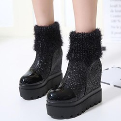 Shoespie Glossy Woolen Patchwork Flat Platform Ankle Boots