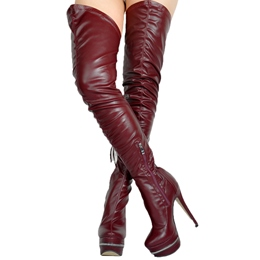 Shoespie Chic Brown Stretch Over the Knee Platform Boots