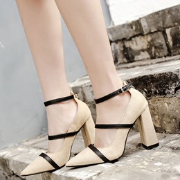 Shoespie Simply Stripe Patchwork Ankle Wrap Chunky Heel Pumps