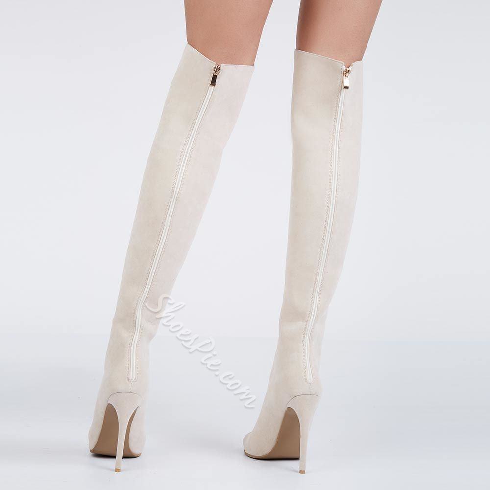 Shoespie Beige Lace Up Thigh High Sandal Boots