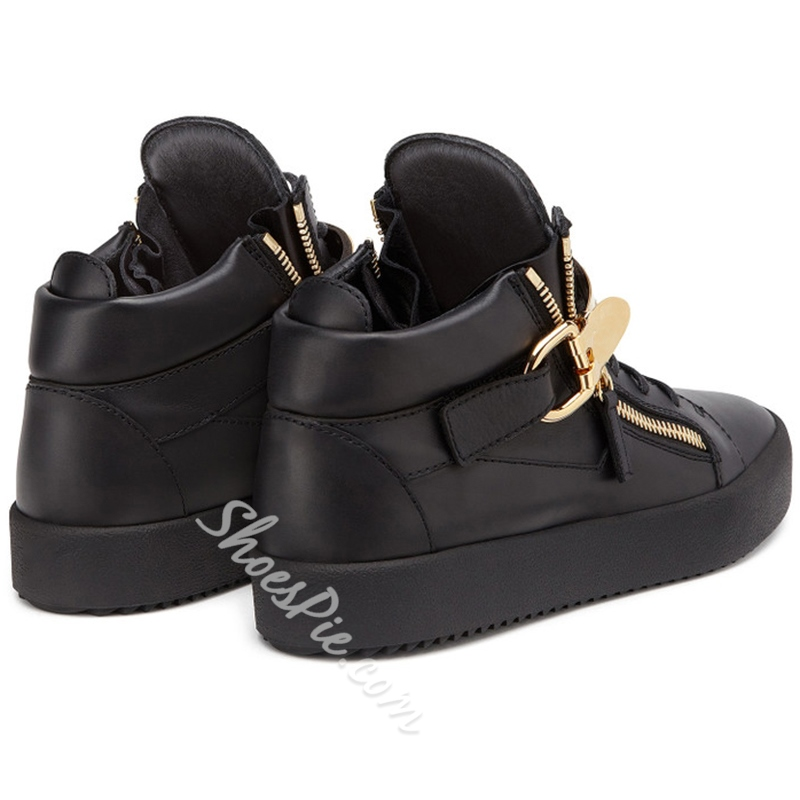 Shoespie Metal Buckles Fashion Sneakers