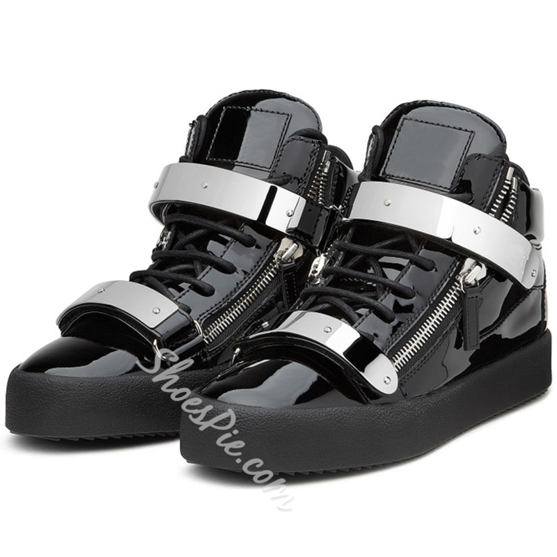 Shoespie Patent Leather Fashion Sneakers