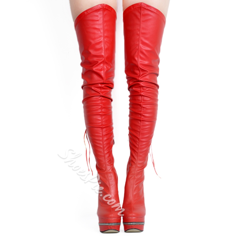 Shoespie Chic Red Stretch Over the Knee Boots