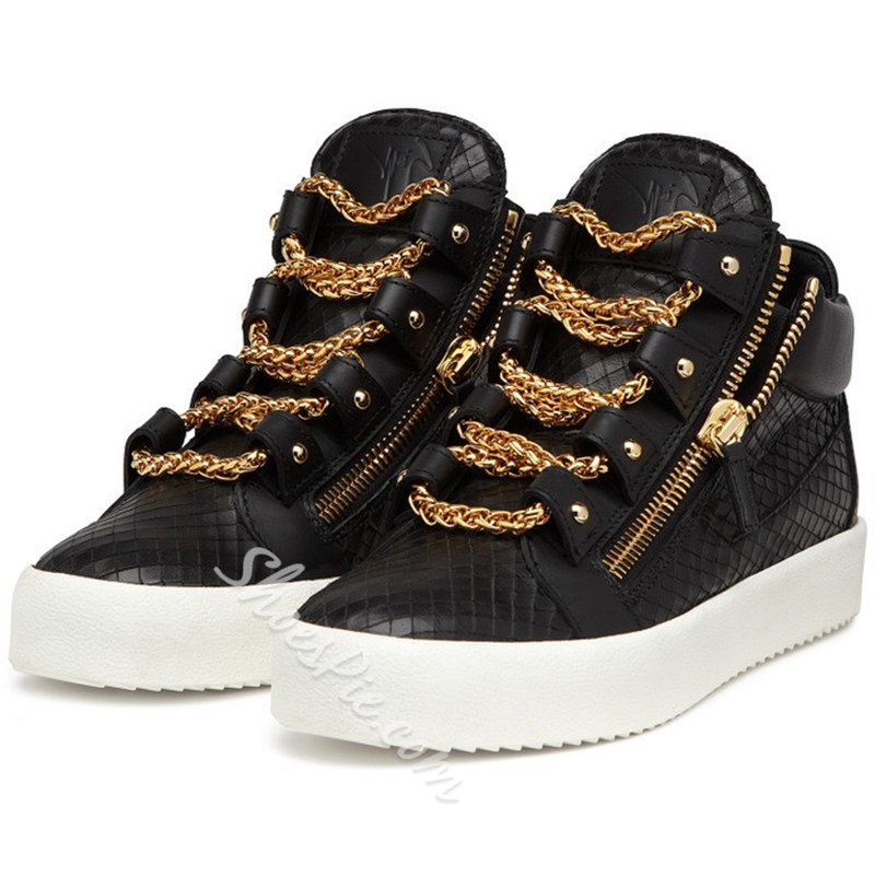 Shoespie Embossed Leather Multi Chains Sneakers