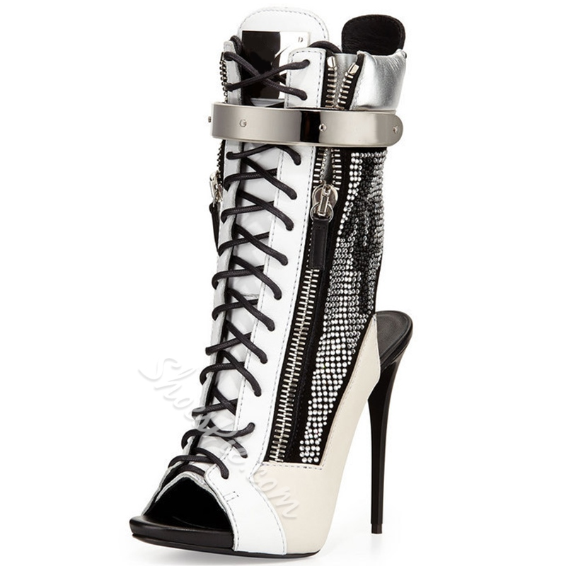 Shoespie Gorgeous Two Tone Patchwork Zipper Backless Gladiator Sandals