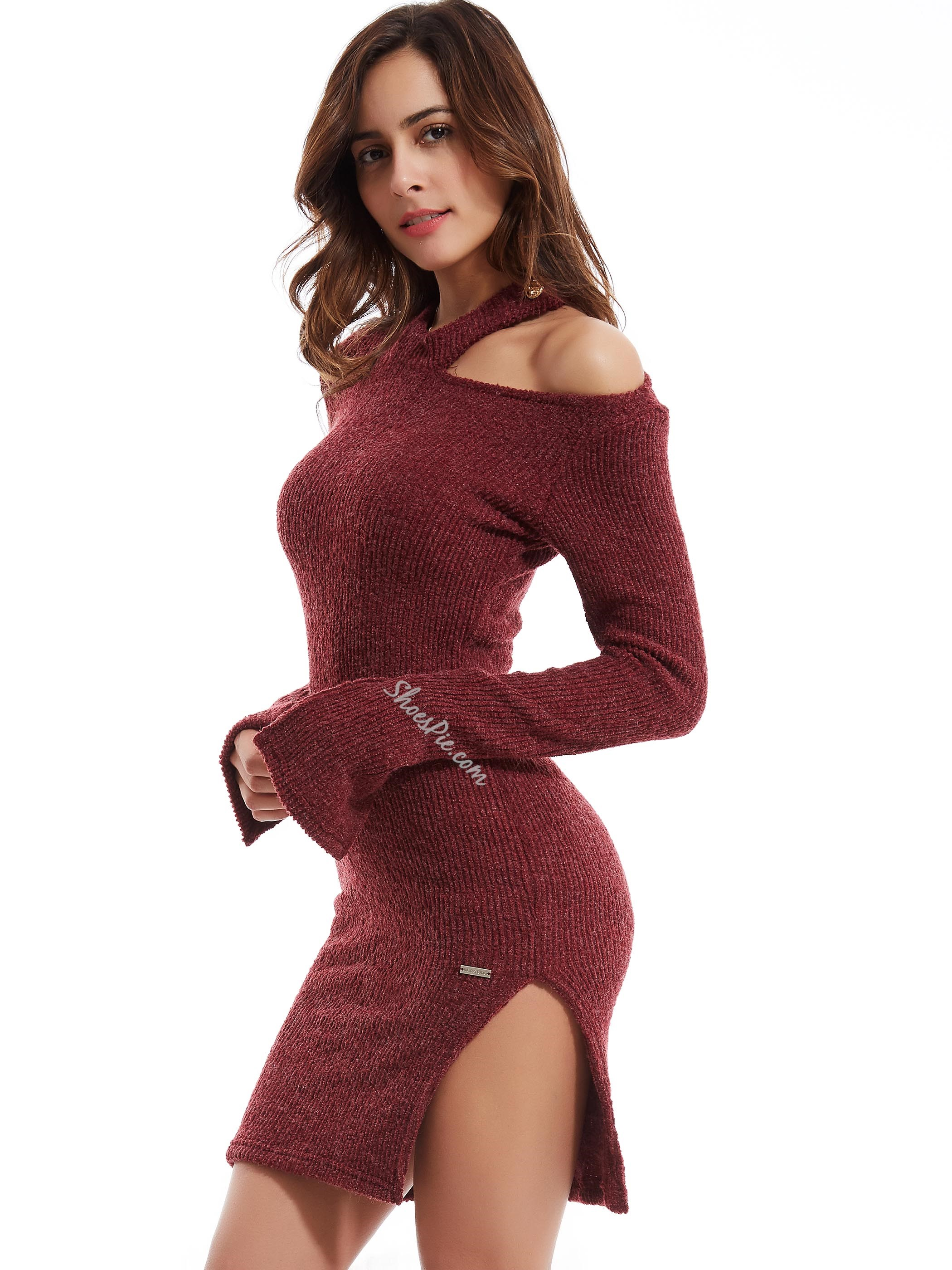 Shoespie Plain Flare Sleeves Hollow Sweater Dress