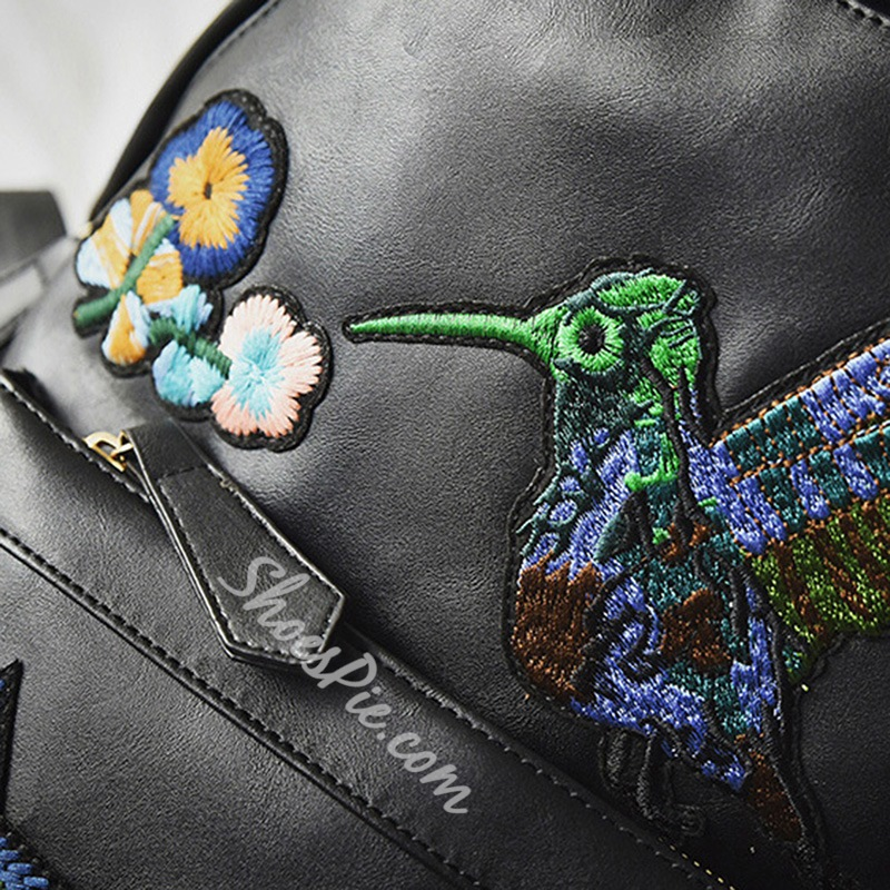 Shoespie Chic Floral & Brid Embroidered Backpack