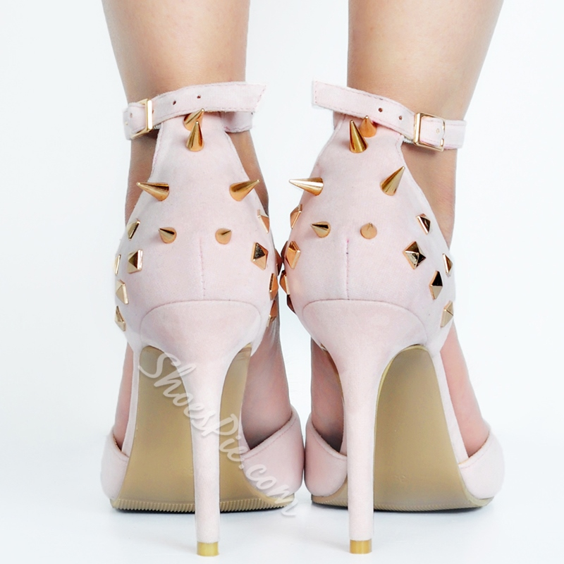 Shoespie Pink Rivets Pompom Accented Stiletto Heels