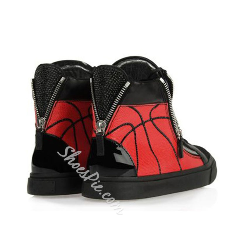 Shoespie Black and Red Men's Sneakers