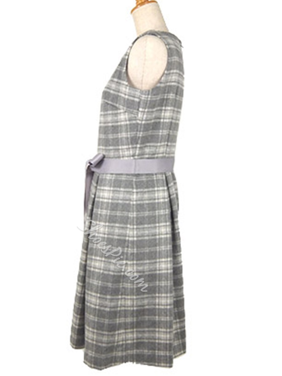 Round Neck Sleeveless Plaid Day Dress