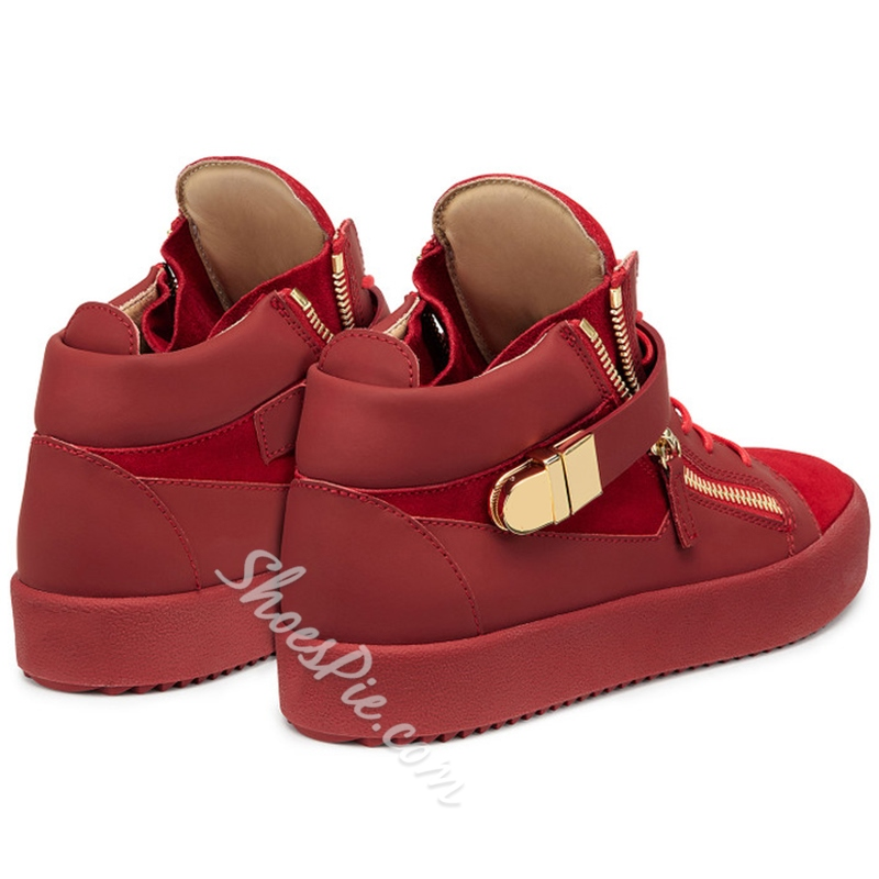 Shoespie Red Suede Fashion Sneakers