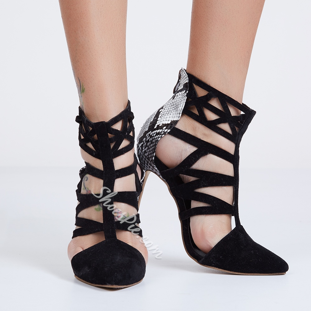 Shoespie Black Caged Court Shoes