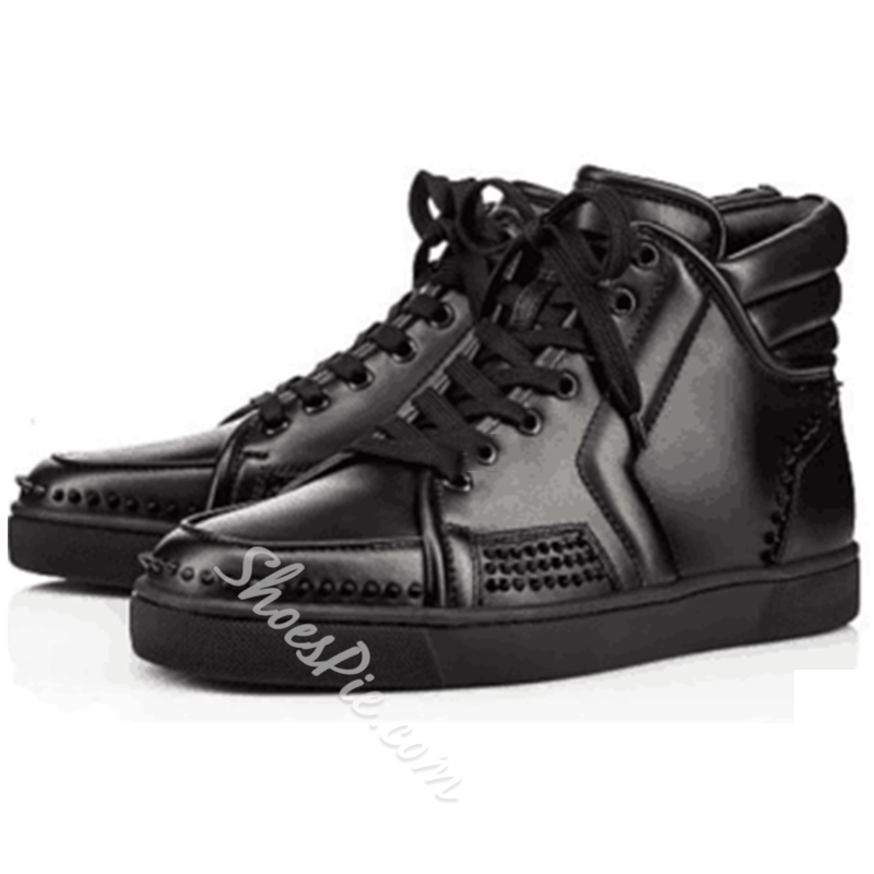 Shoespie Black High-Cut Upper Fashion Sneakers