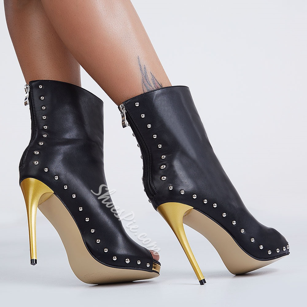 Shoespie Rivets Zipper Peep-toe Ankle Boots