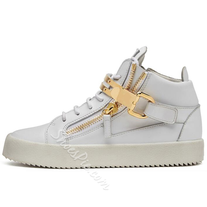 Shoespie White Metal Buckles Fashion Sneakers