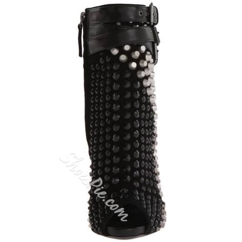 Shoespie Stylish Rivets Buckle Backless Gladiator Fashion Booties