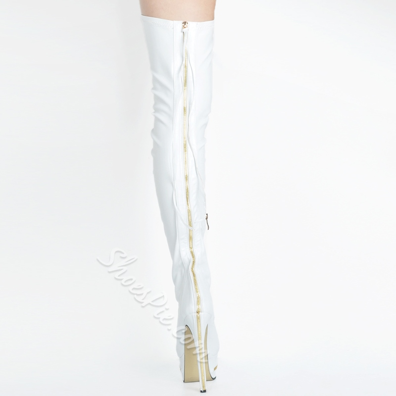 Shoespie Chic White Stretch Over the Knee Boots