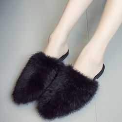 Shoespie Home Casual Faux Furry Backless Loafers