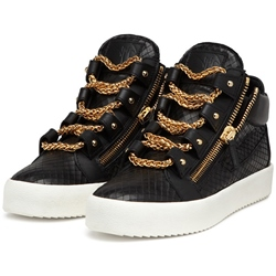 Shoespie Embossed Leather Multi Chains Men's Sneakers