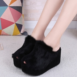 Shoespie Casual Furry Peep Toe Wedge Mules