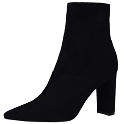 Shoespie Concise Style Black Pointed Toe Chunky Heel Fashion Booties