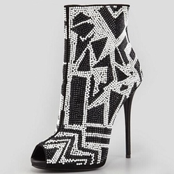 Shoespie Awesome Black & White Two Tone Bead Appliqued Fashion Booties