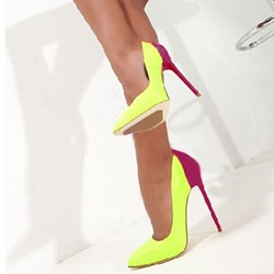 Graceful Contrast Color Pointed-toe Heels