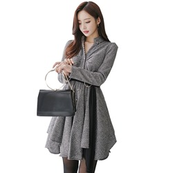 Lapel Single-Breasted Plaid Asymmetrical Day Dress