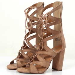 Shoespie Chunky Heel Lace Up Sandals