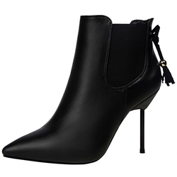 Shoespie Low-key Luxury Black Back Tie Fashion Booties