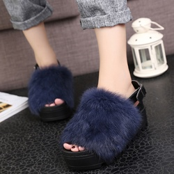 Shoespie Fur Platform Sandals