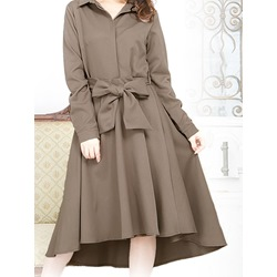 Lapel Bowknot Belt Asymmetrical Day Dress