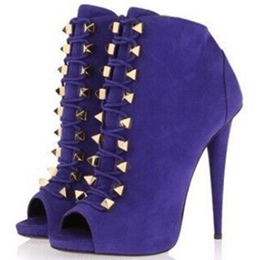 Shoespie Royal Purple Double Rivets Lace Up Fashion Booties