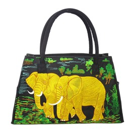 Shoespie Peaceful Green Elepant Happy Print Handbag