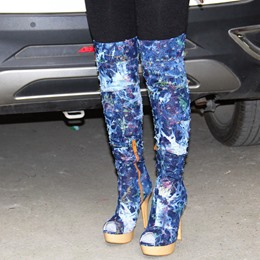 Shoespie Savvy Street Denim Blue Distress Over the Knee Stiletto Boots